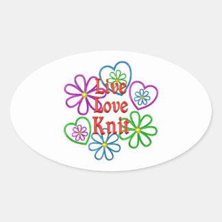 Live Love Knit Oval Sticker