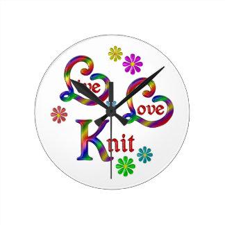 Live Love Knit Round Clock