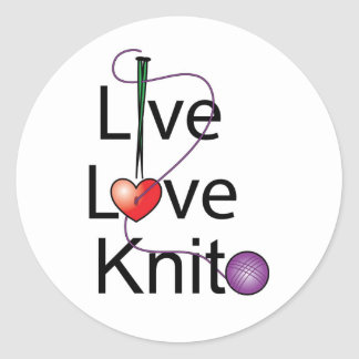 Live Love Knit Classic Round Sticker