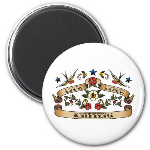 Live Love Knitting 2 Inch Round Magnet