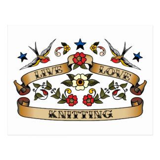Live Love Knitting Postcard