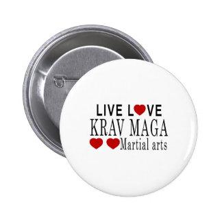 LIVE LOVE KRAV MAGA MARTIAL ARTS PINBACK BUTTON