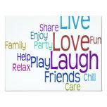 """Live Love Laugh 4.25"""" X 5.5"""" Invitation Card"""