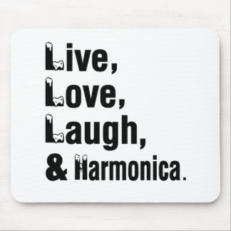 Live Love Laugh And Harmonica Mouse Pad