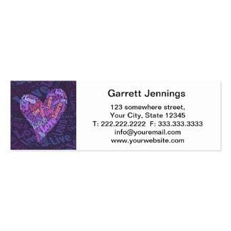 Live, Love, Laugh and Learn Heart Words Mini Business Card