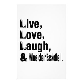 Live Love Laugh And Wheelchair Basketball Stationery