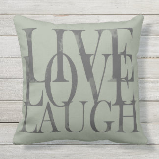 Live Love Laugh Inspirational Motivational Quote Throw Pillow