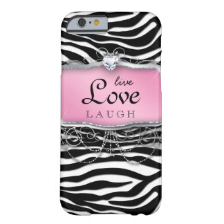 Live Love Laugh iPhone 6 case Cover Zebra Pink Hea