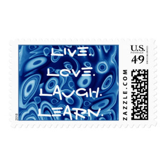 Live Love Laugh Learn in BLUE Postage