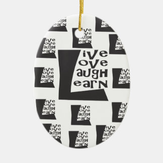 Live, Love, Laugh, Learn Double-Sided Oval Ceramic Christmas Ornament