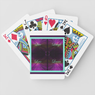 Live, Love, Laugh, Learn -Purple Bicycle Playing Cards