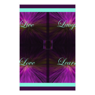 Live, Love, Laugh, Learn -Purple Stationery