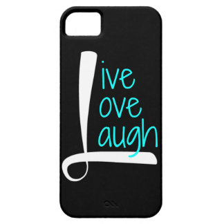 Live Love Laugh phone, White & Aqua on Black iPhone 5 Covers