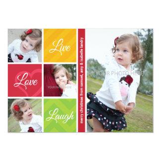 Live Love Laugh Photo Christmas Card Modern