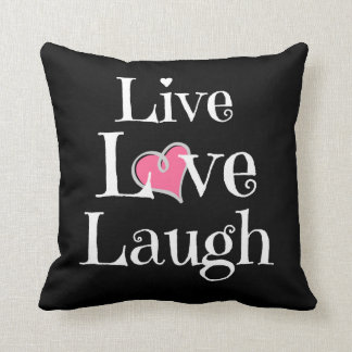 Live Love Laugh Pillow, White on Black, Pink Heart Throw Pillow