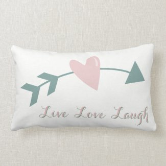 Live Love Laugh Pillow With Heart And Arrow