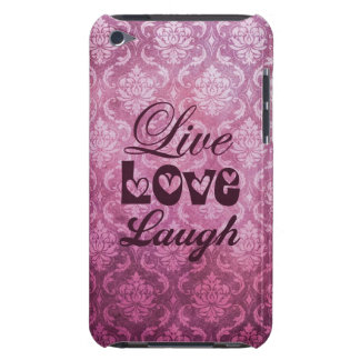 Live Love Laugh Pink Damask Patern iPod Touch Cases
