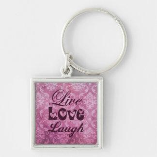 Live Love Laugh Pink Damask Pattern Keychain