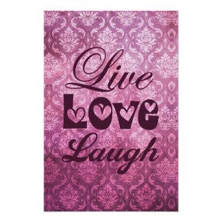 Live Love Laugh Pink Damask Pattern Photo Print