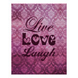 Live Love Laugh Pink Damask Pattern Posters