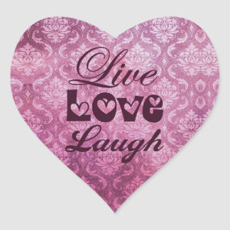 Live Love Laugh Pink Damask Pattern Heart Stickers