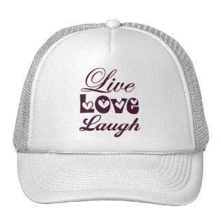 Live Love Laugh Pink Damask Pattern Trucker Hat