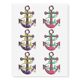 Live, Love, Laugh Rope Nautical Anchor Tattoo Pack