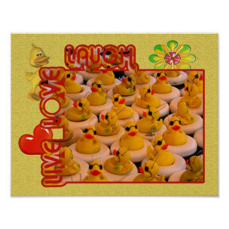 Live Love Laugh Rubber Ducks Inspirational Poster