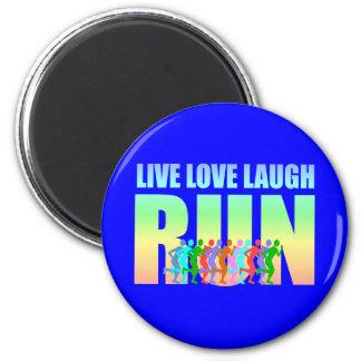 live love laugh run 2 inch round magnet