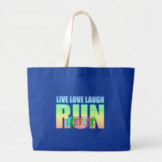 live love laugh run large tote bag