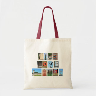 LIVE LOVE LAUGH Spelled out with picture letters Tote Bag