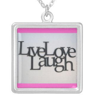 Live, Love, Laugh Square Pendant Necklace