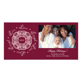 Live Love Laugh Vintage Ornament Holiday PhotoCard Card