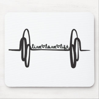 Live Love Lift Bar Black Mouse Pad
