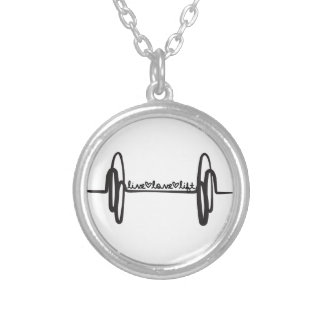 Live Love Lift Bar Black Silver Plated Necklace