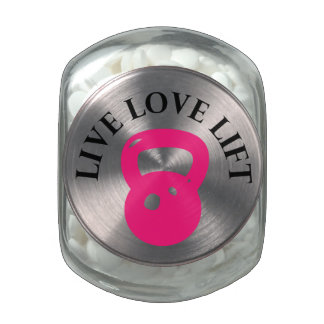 Live, Love, Lift Jelly Belly Candy Jar