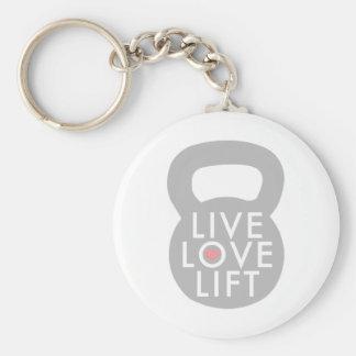 Live Love Lift in Grey Basic Round Button Keychain