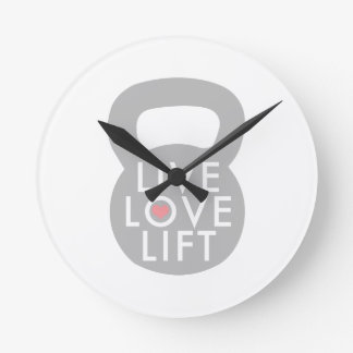 Live Love Lift in Grey Round Wallclocks