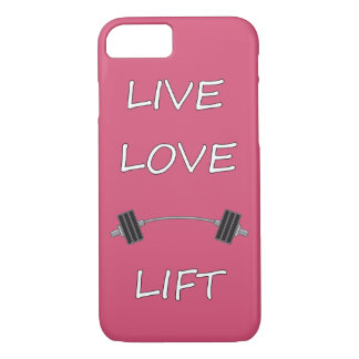 LIVE LOVE LIFT LAUGH KEEP calm and work out exerci iPhone 7 Case