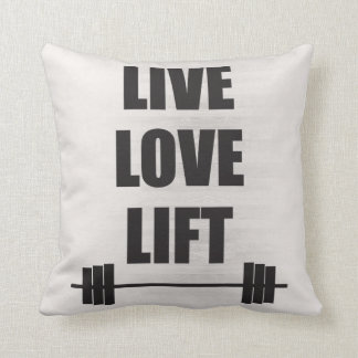Live, Love, Lift Throw Pillow