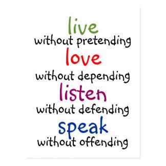 live, love, listen, speak postcard