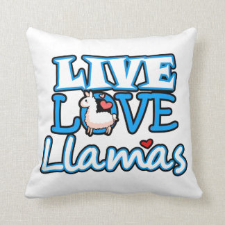 Live, Love, Llamas Throw Pillow