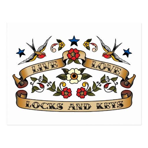 Live Love Locks and Keys Postcard