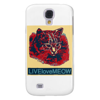 Live, Love Meow  Cat Artwork 3 Samsung Galaxy S4 Cover