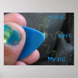 Live Love Music Guitar Pick Poster