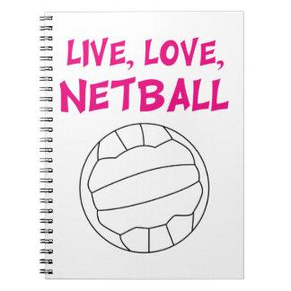 Live Love Netball Spiral Notebook