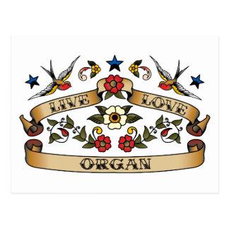 Live Love Organ Postcards