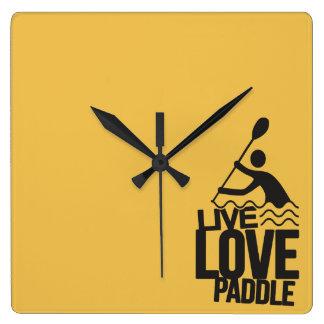 Live Love Paddle | Kayak Canoe Square Wall Clock