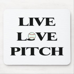 Live Love Pitch Baseball Mouse Pad