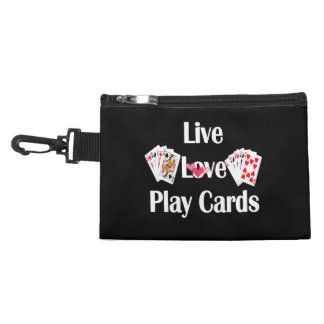 Live, Love, Play Cards-Black Accessory Bag